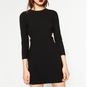 🆕NWOT Zara Cutout Long Sleeve Body Con Blk Dress